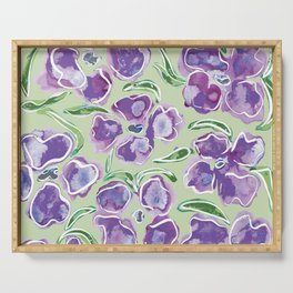 Big Purple Flowers Serving Tray
