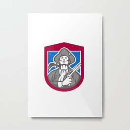 American Patriot With Flintlock Shield Retro Metal Print
