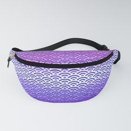 Candy Pop/Navy Blue Watercolor Seigaiha Pattern Fanny Pack