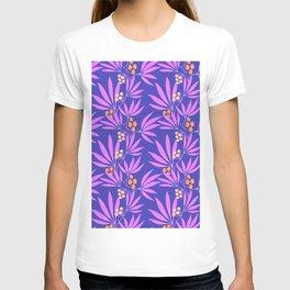 Purple leaves and orange berries on violet T-shirt