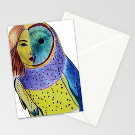 Owl woman Stationery Cards