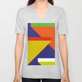 Random colored parallelepipeds flying in a cool blue space Unisex V-Neck