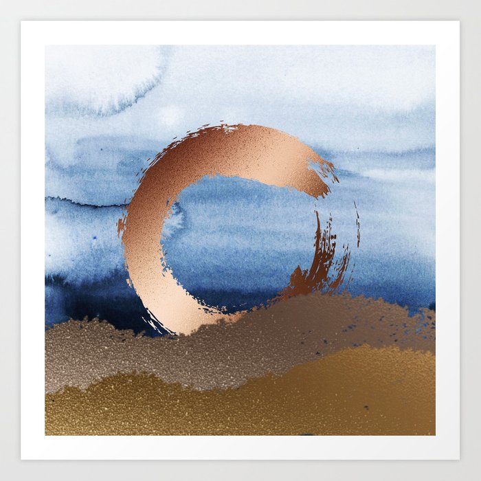 Inspiration: Gold, Copper And Blue Art Print