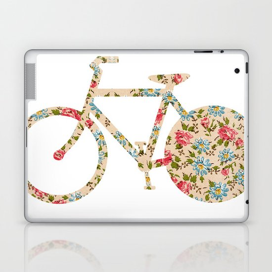 Whimsical cute girly floral retro bicycle Laptop & iPad Skin