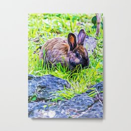 Rabbit in a wood Metal Print