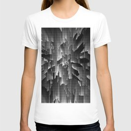 Flowers Exploding with Dots in Black and White T-shirt