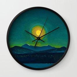 Winter Moonlight Mountain Landscape by Rockwell Kent Appalachian Wall Clock