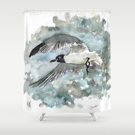 Seagull in Stormy Weather Shower Curtain