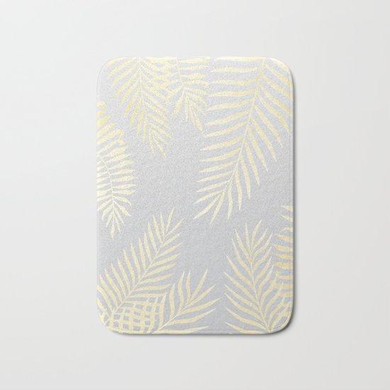 Gold palm leaves on grey Bath Mat