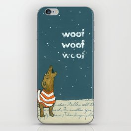 Dogs in Sweaters Barking at Snow or Stars iPhone Skin
