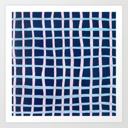 Pink and Blue Grid Art Print