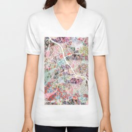 Warsaw map Unisex V-Neck