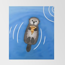 Sea Otter with Pizza Throw Blanket