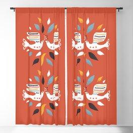 Festive doves - folk illustration Blackout Curtain
