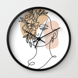 Abstract minimalist woman face line art Floral Flower  Wall Clock