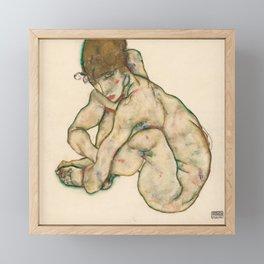 """Egon Schiele """"Crouching nude girl"""" Framed Mini Art Print"""