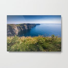 Sunny Cliffs of Moher, Ireland Metal Print