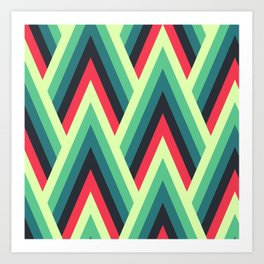 ZIG ZAG yellow, green, blue, black red Shapes Art Print
