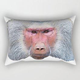 Hhamadryas Baboon Angry Demanding Commander Face Mammal Rectangular Pillow