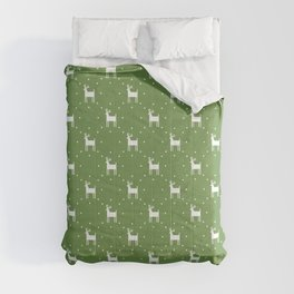 Deer pattern retro colors Christmas Day neon green background Comforters