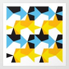 Blue, Yellow, Orange & Black Geometric Pattern Art Print