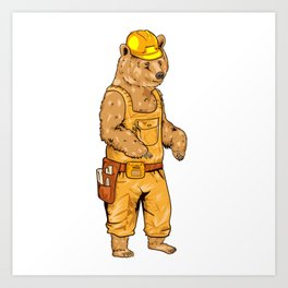 Construction Worker Grizzly Bear Art Print