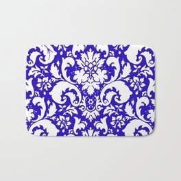 Paisley Damask Blue and White Bath Mat