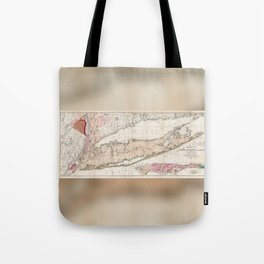 Long Island New York 1842 Mather Map Tote Bag