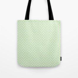 Modern pastel green white cute hipster polka dots Tote Bag