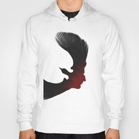 edgar allen poe Hoodies featuring Edgar Allen Poe and the Raven by Fay Bycroft