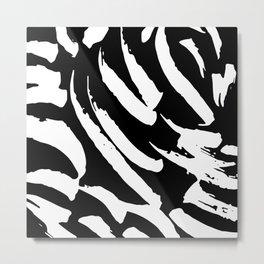 Black and White Brush Strokes Metal Print