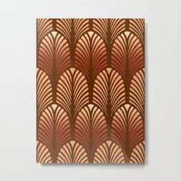 Art Deco Feather Pattern, Copper and Brown Metal Print
