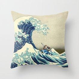 Katara Riding the Wave Throw Pillow