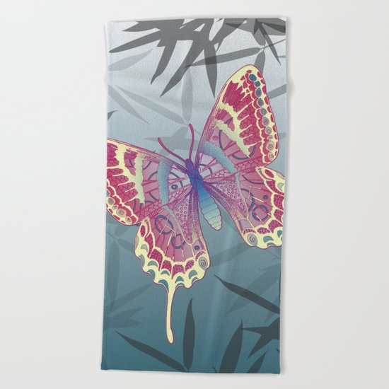 Unique Butterfly Bamboo leaves Pattern Beach Towel
