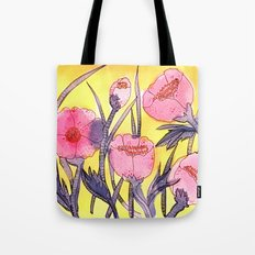 Fever Flowers - pink navy white yellow Tote Bag
