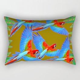 GREEN JUNGLE BLUE MACAW PARROTS Rectangular Pillow
