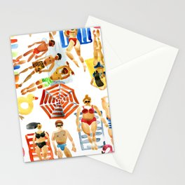 People sunbathing on the beach seamless pattern Stationery Cards
