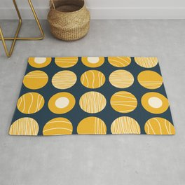 Kugeln - Minimalist Decorated Dot Pattern in Mustard Yellow and Navy Blue Rug