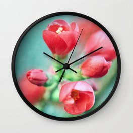Textured Chaenomeles Japonica Wall Clock
