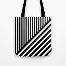 Black and White Diagonal Stripes Tote Bag
