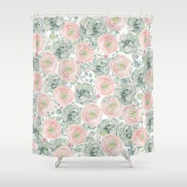 Flowers And Succulents White  #buyart #decor #society6 Shower Curtain