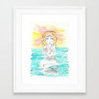 mermaid Framed Art Prints featuring Mermaid by Lisa Bulpin