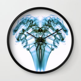 Smoke Ram- Turquoise on White Wall Clock