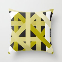 Gold Structural Lines Pattern Throw Pillow