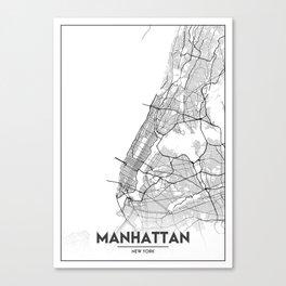 Minimal City Maps - Map Of Manhattan, New York, United States Canvas Print