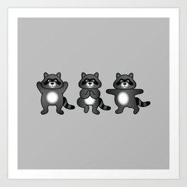 Cute Cartoon Raccoons Practising Yoga Poses Art Print
