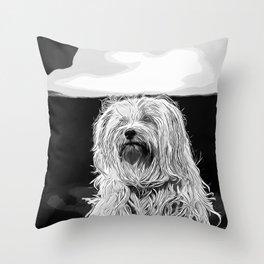 hairy havanese dog vector art black white Throw Pillow