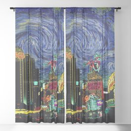 Las Vegas In Starry Night Sheer Curtain