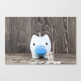 blue pig piggy bank Canvas Print
