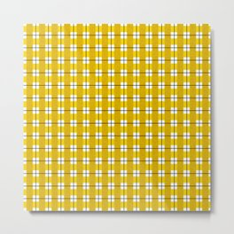 Chequered Grid - Gold Metal Print